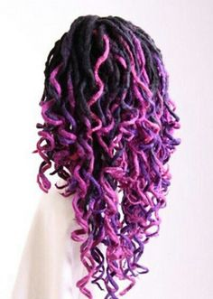 Two tone purple dyed ombre dreads hair