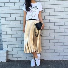Boyfriend tee, pleated midi & sneaks
