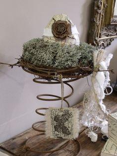Easter decoration: Nest on old bed spring