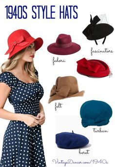 New women's hats inspired by 1940s hat fashions. Fedora, turban, beret, felt hats, and fascinators. Find these and more at http://VintageDancer.com