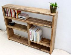 Small wood reclaimed bookcase living room by Paradiseoffurniture