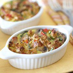 Smoked Chicken Strata. Nutrition Facts Per Serving:  Servings Per Recipe: 6 PER SERVING: 243 cal., 8 g total fat (3 g sat. fat), 35 mg chol., 777 mg sodium, 22 g carb. (4 g fiber, 8 g sugars), 23 g pro.  Diabetic Exchanges  Starch (d.e): 1; Vegetables (d.e): 0.5; Fat (d.e): 1; Lean Meat (d.e): 2.5