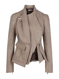 Givenchy - Jacket Beige in beige. Love the modern asymmetrical design in a traditional tweed.