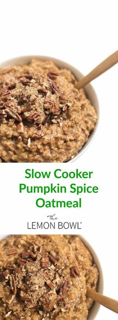 Steel cut oats cook overnight with pumpkin, maple syrup and spices to create a healthy, make-ahead breakfast that will be waiting for you in the morning.