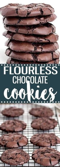 Rich, chewy, fudgy, flourless chocolate cookies. This easy recipe has no butter and no oil. #chocolatecookies #glutenfree #butterless #easyrecipe #christmas #baking