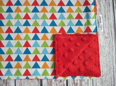 Geometric Baby Blanket, Triangle Blanket, Red Baby Blanket, Minky Back, Modern Baby Design