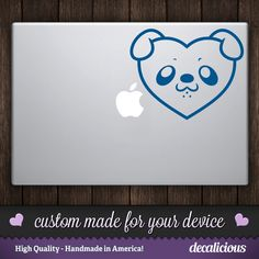 Cute! DOG HEART face vinyl decal.  Features cartoon DOG face shaped liked a heart.  For: Macbook, Laptop, Computer, Walls, Cars + by decaliciouscom on Etsy