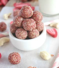Strawberry and Cream Cashew Cookie Bites - change of plans, from no fat fruitarian to mostly nuts and greens, but this is a good treat methinks