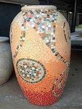 Mosaic pot with medallion and interesting lines