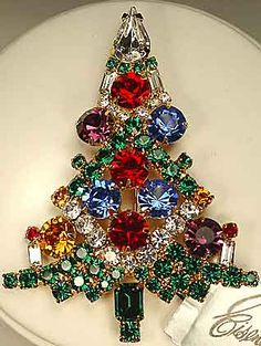 Eisenberg Multi Navette Tree - Eisenberg's most expensive tree.  Set in silvertone using jeweltone thin navettes in green, red, blue, gold and purple, with round clear rhinestones.