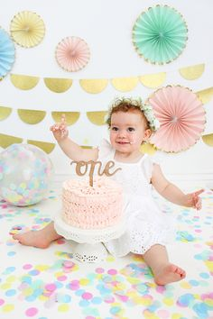"""""""ONE"""" cake topper for first birthday smash cakes // Shop this first birthday look from Alexis Mattox Design Number Cake Toppers, Number Cakes, Smash Cakes, Cake Shop, Birthday Cake Toppers, Party Cakes, First Birthdays, Numbers, Stationery"""