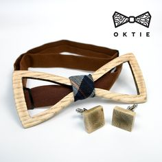 OKTIE Classic Wooden Bow Tie Handmade Bowtie Wood Accessories Gift for Men Ash curved bow tie White with Cuff links