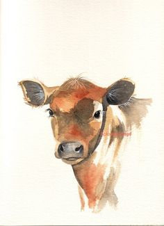 Watercolor paintings of animals, cow painting, animal paintings, painti