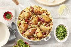 Everything's better with bacon! This chicken dish is flavourful, requires minimal clean-up and is super easy to throw together. The noodles cook right in the sauce to soak up all of that delicious flavour. Turkey Recipes, Chicken Recipes, Chicken Meals, Chicken Bacon Pasta, Chicken Meatballs, Campbells Soup Recipes, Fast Dinners, Noodle Recipes, Casserole Recipes