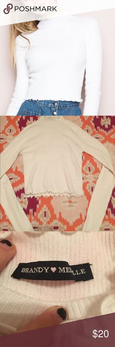 Brandy Melville Elisa Top White. Brandy Melville. Ruffled Hem. Mock Neck. Size OS. Brandy Melville Tops Tees - Long Sleeve