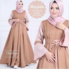 Baju Atasan Pakaian Wanita Gamis Hijabers Marbella Dress Choco mempunyai keterangan Baju Fashionbahan balotelli Baju Hijabers beraplikasi sekoder Tangan Da