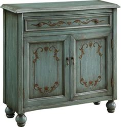 Wood accent chest with 1 shelf and hand-painted scrolling gold accents. Product: Accent chestConstruction Material: WoodColor: TealFeatures: Decorative hardware and hand-painted gold accentsInterior shelf and bun feet Dimensions: H x W x D Decor, Accent Chests And Cabinets, Traditional Cabinets, Painted Furniture, Accent Cabinet, Cabinet, Furniture, Home Decor, Accent Doors