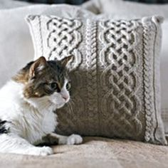 How to knit an Aran pillow with a Celtic design - free knitting pattern. The pillow/cushion is gorgeous...and the cat is pretty cute, too! LOL!