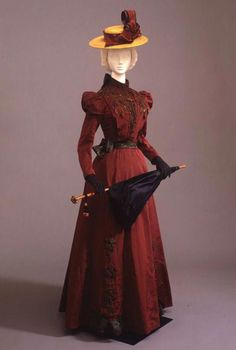 Two-piece walking dress in wine-colored faille, Italian manufacture, c. at the Pitti Palace Costume Gallery. Via Europeana Fashion.-Inspiration for a 'Lady-like' SteamPunk costume. 1890s Fashion, Edwardian Fashion, Vintage Fashion, Edwardian Era, Gothic Fashion, Edwardian Dress, Classic Fashion, Vintage Gowns, Vintage Clothing