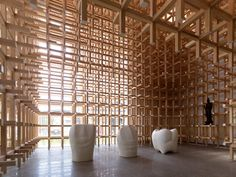 GC Prostho Museum Research Center, Kengo Kuma. made with the cidori system of slotting timber sticks together without fixings.