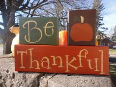Thanksgiving Decor by Middy and Kristava on Etsy - - Thanksgiving Wood Crafts, Fall Wood Crafts, Fall Arts And Crafts, Wood Block Crafts, Thanksgiving Signs, Autumn Crafts, Thanksgiving Decorations, Wood Blocks, Holiday Crafts