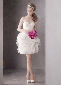 White by Vera Wang for David's Bridal Short satin-faced organza dress with tulle overlay.