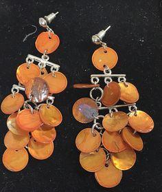 Pierced Earrings Orange Circles  Chandelier Long Dangle Style #FashionJewelry #Chandelier