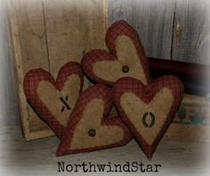 Primitive Valentine Heart Ornie Bowl Filler by northwindstar, $11.99