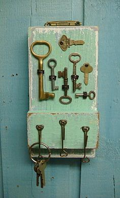 totally DIY worthy... but - Key Holder Sea Glass Green Vintage With Skeleton by CastawaysHall, $49.00