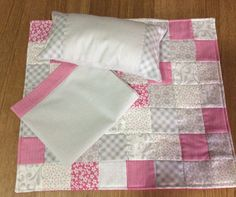 Doll quilt ,pillow and sheet set by TheAngoraBunny on Etsy https://www.etsy.com/au/listing/537366927/doll-quilt-pillow-and-sheet-set