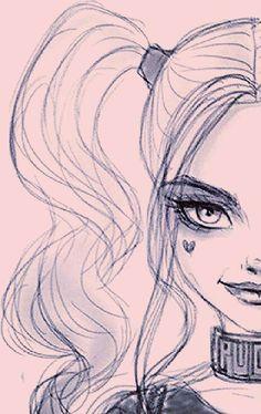 Harley Quinn / - Lilly is Love Joker Drawings, Cool Art Drawings, Pencil Art Drawings, Cartoon Drawings, Cartoon Art, Joker Drawing Easy, Easy Drawings, Drawing Cartoon Characters, Joker Y Harley Quinn