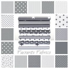 STARS - GREY and WHITE COTTON FABRIC by the metre EX WIDE NURSERY BOYS Oeko-tex