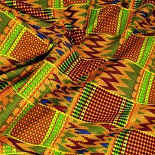 Fabric African Print Kente Cloth Fabric Per Yard, Wax Dyed, Green Red Blue Yellow & Garden Fabric Crafts, Sewing Crafts, Kente Cloth, 2 Colours, Green, Blue Yellow, Cotton Fabric, Wax, African