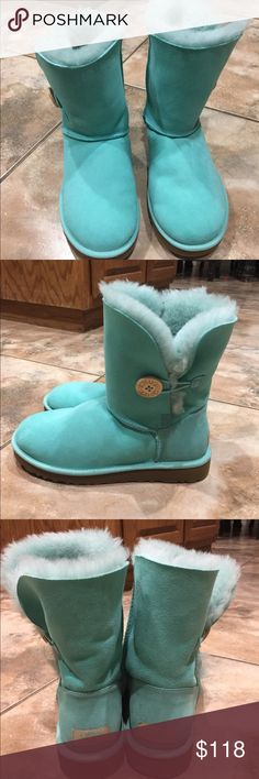 BRAND NEW Mint turquoise/blue Uggs! Size 8. BRAND NEW. I don't have the box. Never wore them...size 8. Smoke free home. Buy tonight, I'll ship tomorrow! UGG Shoes Winter & Rain Boots