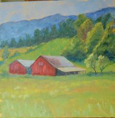 Oil painting of two red barns in Tennessee. Red Barn Painting, Simple Oil Painting, Barn Pictures, Red Barns, Easy Paintings, Beautiful Buildings, Family Room, My Arts, Carving