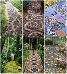 25 Incredible DIY Garden Pathway Ideas You Can Build Yourself To Beautify Your Backyard Diy Garden, Dream Garden, Garden Paths, Garden Projects, Garden Art, Garden Mosaics, Garden Stones, Terrace Garden, Glass Garden