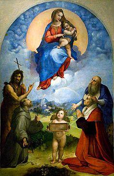 Madonna di Foligno AutoreRaffaello Sanzio Data1511-1512 Tecnicaolio su tavola trasportata su tela Dimensioni320 cm × 194 cm  UbicazionePinacoteca Vaticana, Città del Vaticano