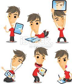 Personnage de caractère, Enfant, Vraies gens, Tablette d'entrée graphique, Ordinateur Illustration vectorielle libre de droits