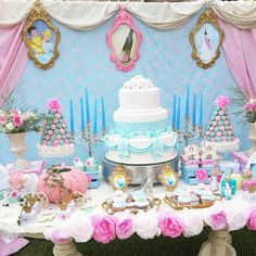 Princess Cinderella Birthday Party via Kara's Party Ideas : The curtain Backdrop