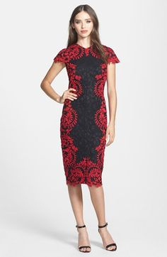 This embroidered dress by Tadashi Shoji is perfect for an office party. . .Classy and contemporary.  Available at Nordstrom. #PartyDress