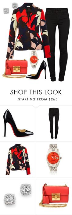 """""""A touch of Fall"""" by styledbytammy ❤ liked on Polyvore featuring Christian Louboutin, J Brand, Delpozo, Bloomingdale's and Gucci"""