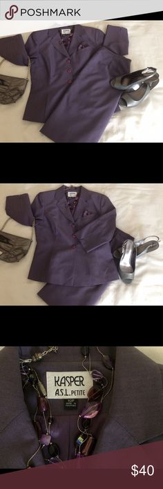 """Kasper ASL Skirt Suit. Spring skirt suit. Violet. Fully lined.  Three Button Jacket. Two slit pockets. This jacket is cut so you don't need a Blouse under it if left buttoned. Underarm to underarm 19"""". Shoulder to hem 22"""". Skirt waist 14 1/2"""". Waist to hem 22"""". Kasper Skirts Skirt Sets"""