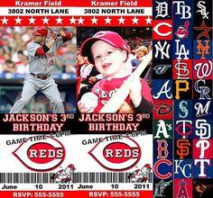 MLB Baseball Custom Designed Birthday Party Ticket by ajinvites, $13.99