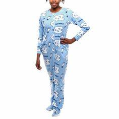 North Carolina Tar Heels (UNC) Ladies Highlight Union Footie Pajamas - Carolina Blue