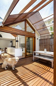 Sheri Haby Architects recently completed renovations at Gable House, a charming Edwardian timber cottage. A previously built addition to Gable House incor Wood Patio, Patio Roof, Luxury Interior Design, Interior Decorating, Decorating Ideas, Interior Designing, Weatherboard House, Gable House, Roof Styles