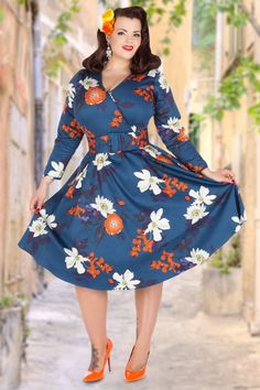 1950s Blue Cosette Japanese Dress printed w/ orange flowers & matching stilettos & hair flower, red smile, vintage hairstyle