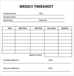 timesheet templates hourly with breaks   Weekly Timesheet Template - 7 Free Download for PDF