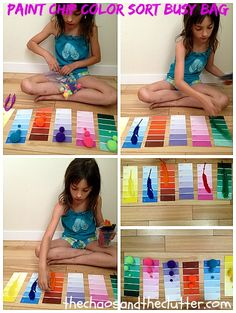 Paint Chip Color Match Activity using paint chips, feathers, and poms