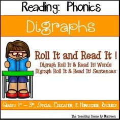 Roll It!  Read It!   Digraph Practice for K-3rd, Special Education & Home Schooled Children.  Resource includes Digraph Roll It!  Read It!  Words & Sentences Game Cards.  Kids have some Digraph fun while learning!