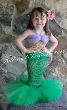 Little Mermaid Tutu Costume Set w/Flower, Choice of Green or Turquoise Tail and Fins by Frills and Fireflies